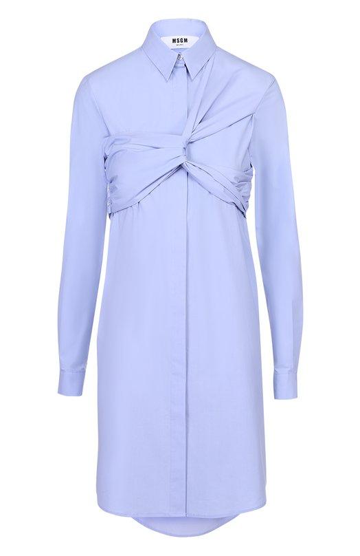 Платье-рубашка с декоративной драпировкой MSGM 2241MDE21/174109