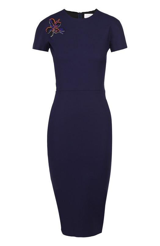 Платье-футляр с контрастной цветочной нашивкой Victoria Beckham DRS FIT 103C PSS17/MICR0BRUSH/EMB