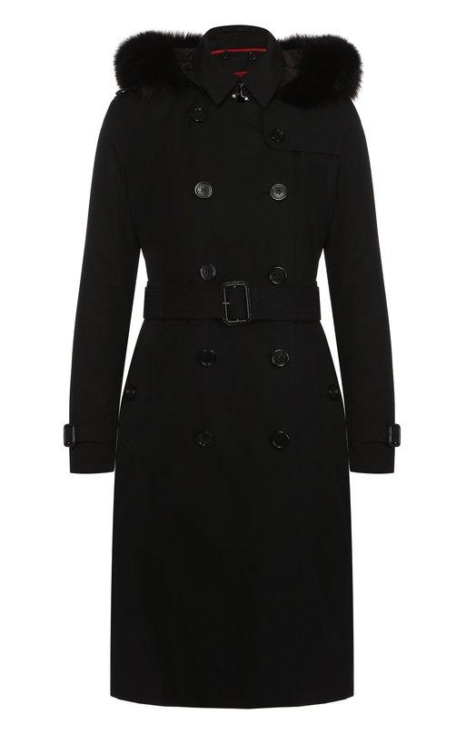 Двубортное пуховое пальто с меховой отделкой капюшона Burberry 4028003
