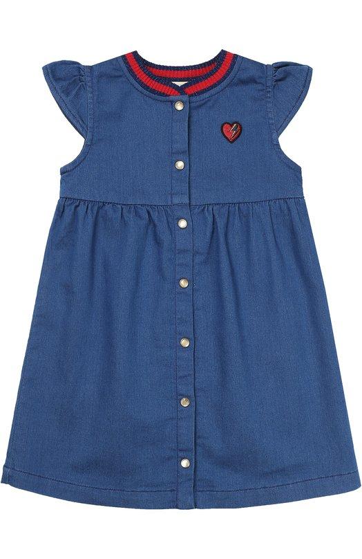 Платье из денима с нашивкой Gucci 456043/X5N34