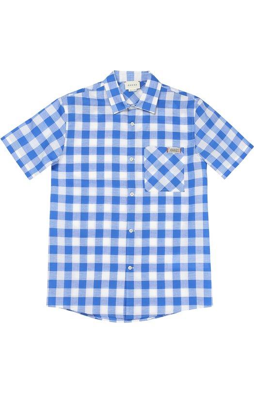 Рубашка из смеси хлопка и льна Gucci 452275/XB381
