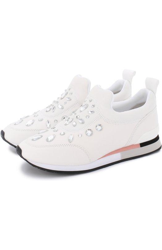 Кожаные кроссовки с кристаллами Tory Burch 36409