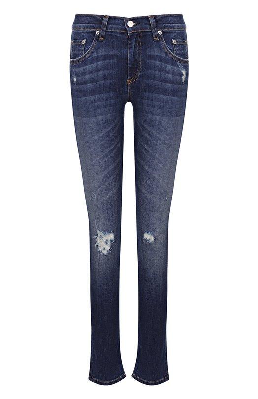 Купить Укороченные джинсы-скинни с потертостями Rag&Bone, W1526K520CAN, США, Синий, Хлопок: 98%; Полиуретан: 2%;