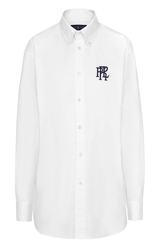 Блуза прямого кроя с вышитым логотипом бренда Polo Ralph Lauren V33/XZ84W/XY84W