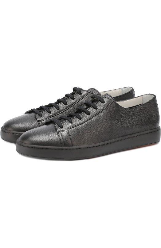 Кожаные кеды на шнуровке Santoni MBCN14387NA6CMIA