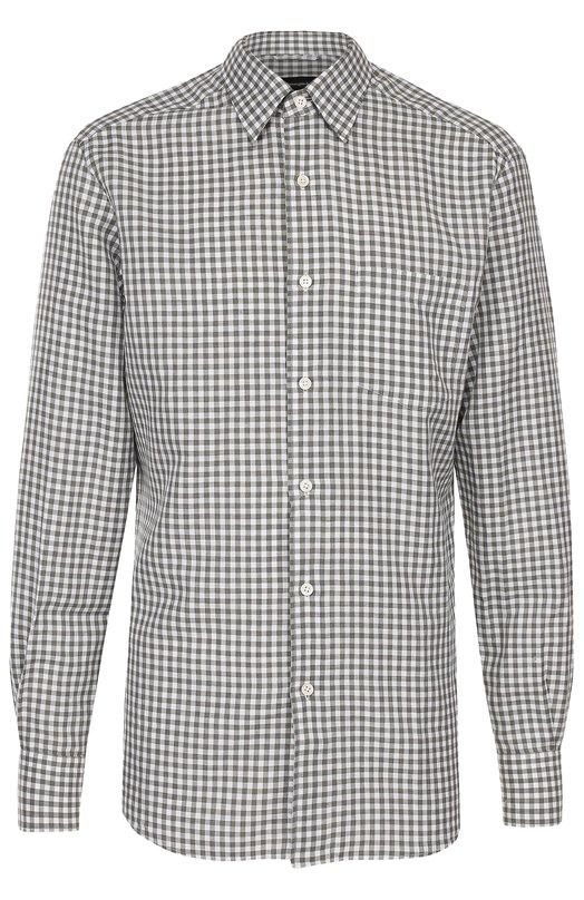 Рубашка из смеси хлопка и льна с воротником кент Ermenegildo Zegna UMX20SRH1