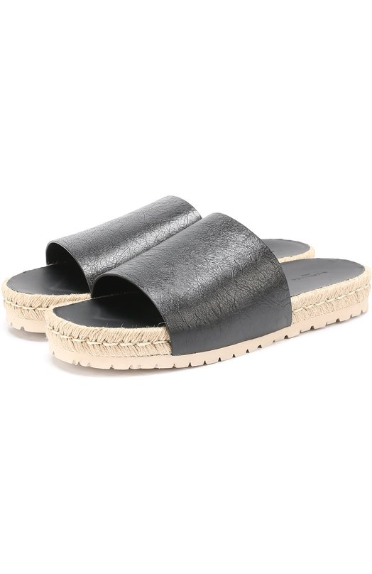 Кожаные шлепанцы на джутовой подошве Balenciaga 458659/WAD40