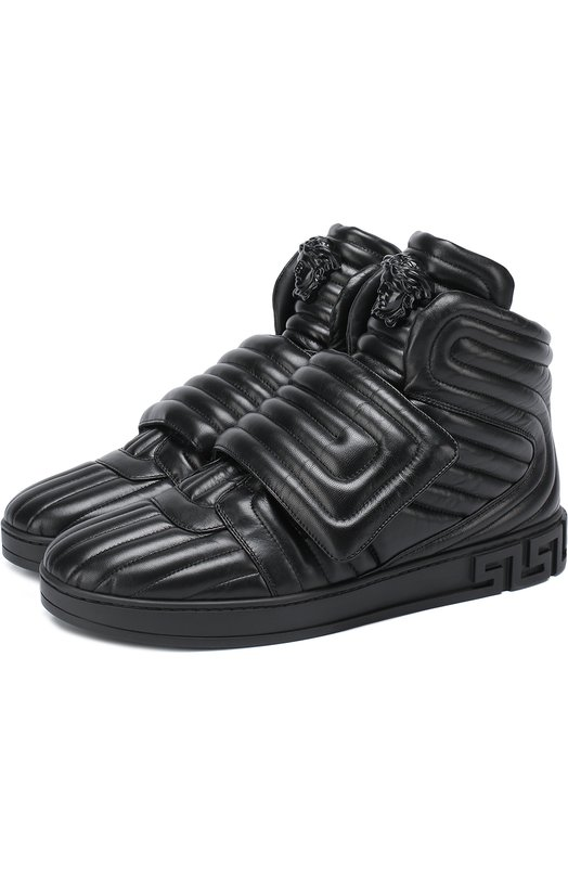 Высокие кожаные кроссовки с застежкой велькро Versace DSU6171/DNAXG