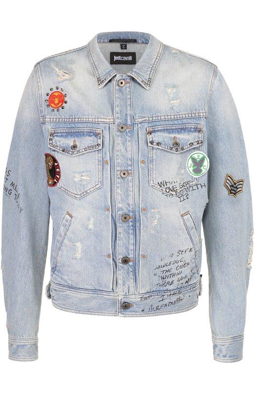 Джинсовая куртка с принтом и нашивками Just Cavalli S01AM0172/N31143