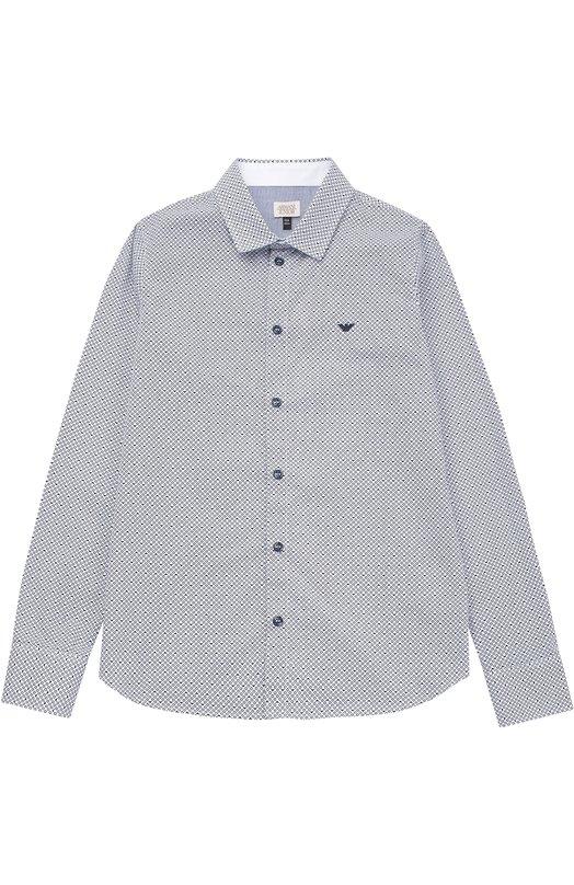 Рубашка из хлопка с принтом Giorgio Armani 3Y4C14/4N18Z/11A-16A