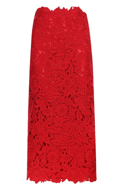Купить Кружевная юбка-миди с завышенной талией Valentino, MB3RA2C5/369, Италия, Красный, Хлопок: 85%; Полиэстер: 15%; Подкладка-шелк: 100%;