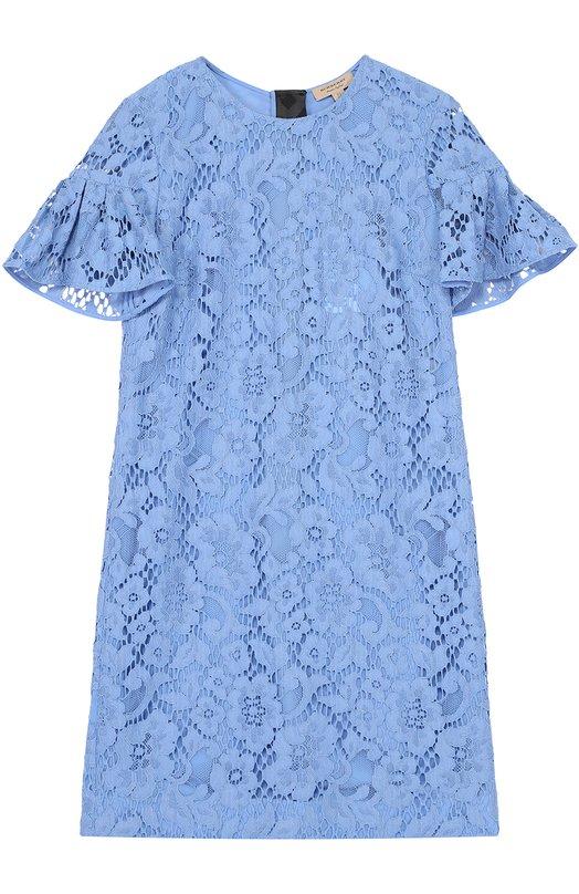 Кружевное мини-платье с коротким рукавом Burberry 4043068