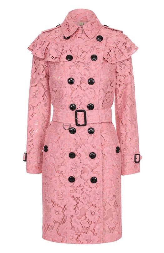 Кружевное двубортное пальто с оборкой Burberry 4044869