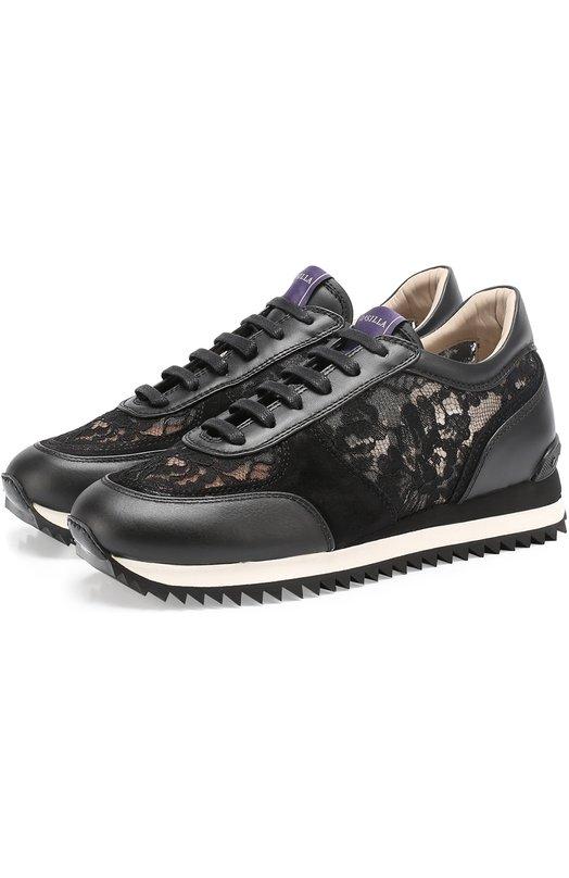Кожаные кроссовки с отделкой кружевом Le Silla J69072/XX00J76