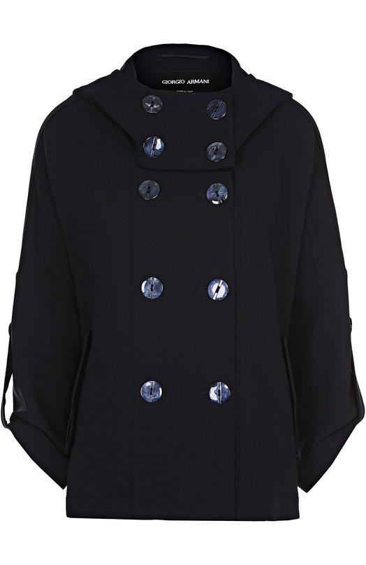 Двубортное укороченное пальто с капюшоном Giorgio Armani VAB10W/0A132