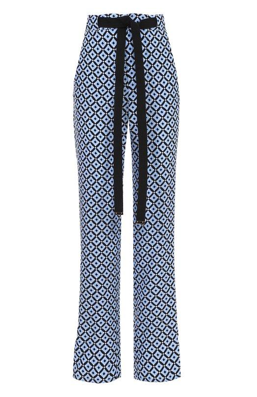 Шелковые брюки с геометрическим принтом и контрастным поясом Marni PAMAV16Q00TSE08