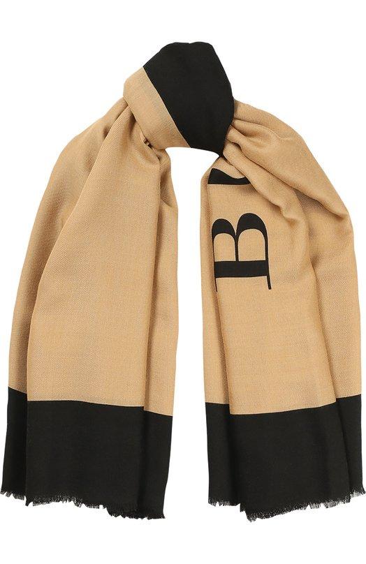 Шарф с логотипом из смеси шерсти и шелка Burberry 4042898