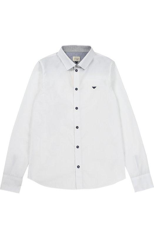 Рубашка из хлопка с логотипом бренда Giorgio Armani 3Y4C14/4N18Z/11A-16A