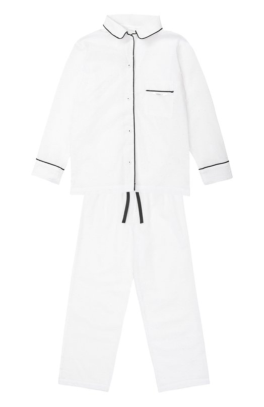 Пижама из хлопка с контрастной отделкой La Perla 51641/2-6