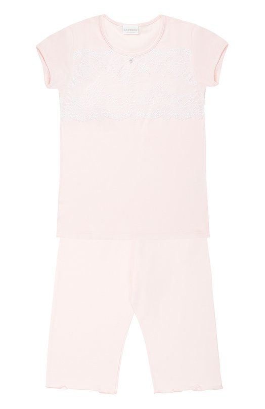 Пижама из хлопка с кружевной отделкой La Perla 51721/2-6