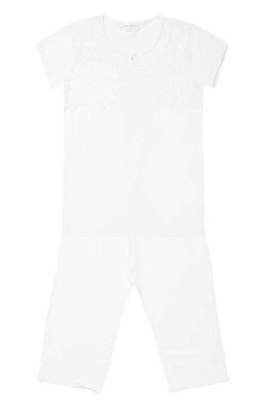 Пижама из хлопка с кружевной отделкой La Perla 51721/8-14