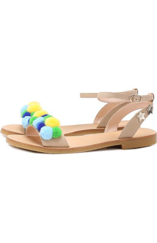 Кожаные сандалии с помпонами Il Gufo G735/VITELL0 ICARUS/35-40