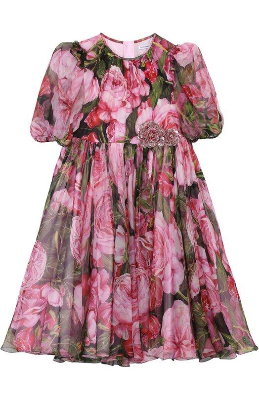 Платье из шелка с цветочным принтом Dolce & Gabbana 0131/L57D38/HS1JH/8-12