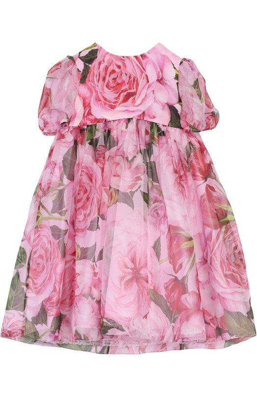 Платье из шелка с цветочным принтом Dolce & Gabbana 0131/L27D38/HS1JH