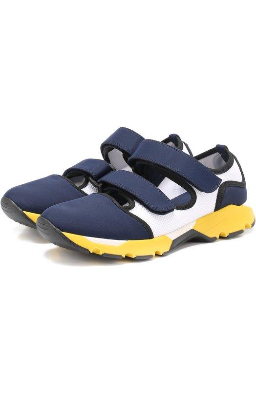 Комбинированные кроссовки с застежкой велькро Marni SNZWS01G02TCR86