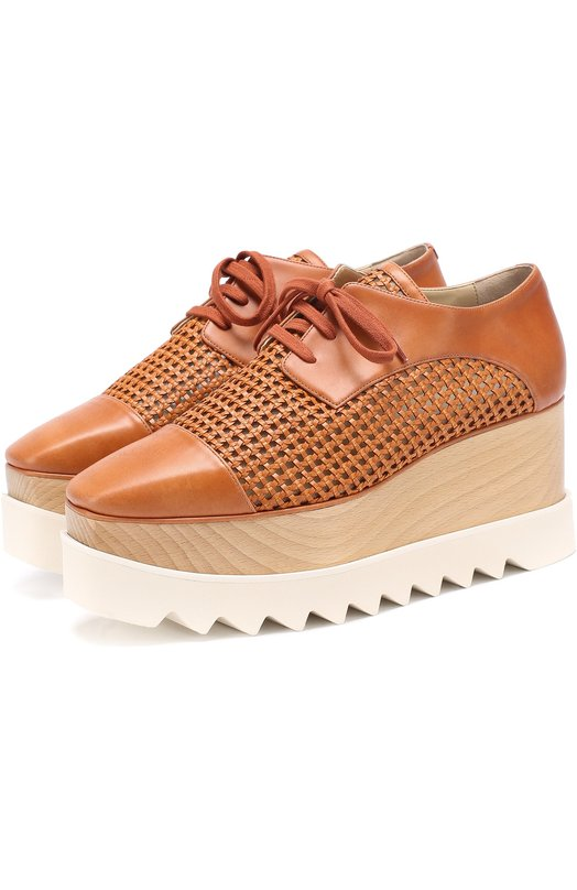 Ботинки из эко-кожи с плетением на платформе Stella McCartney 423374/W0MW4