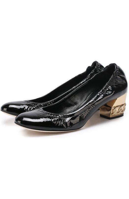 Лаковые туфли на низком каблуке с декором Casadei 1F430D050/C566