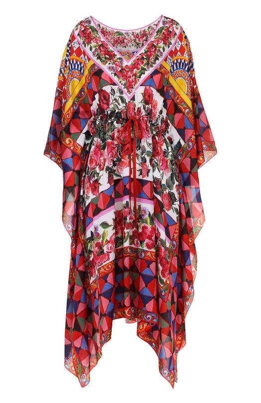 Шелковая туника асимметричного кроя с ярким принтом Dolce & Gabbana 0102/F6YC0T/GDD02