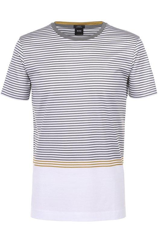 Хлопковая футболка в контрастную полоску BOSS 50325579
