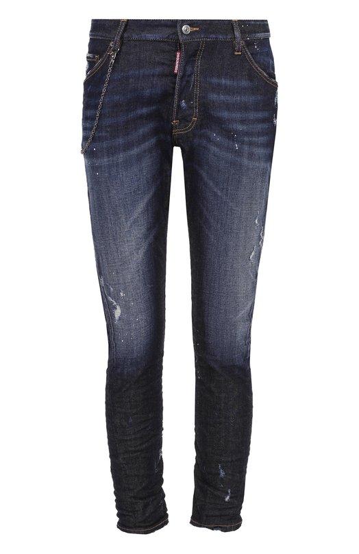 Зауженные джинсы с декоративными потертостями Dsquared2 S74LB0121/S30330