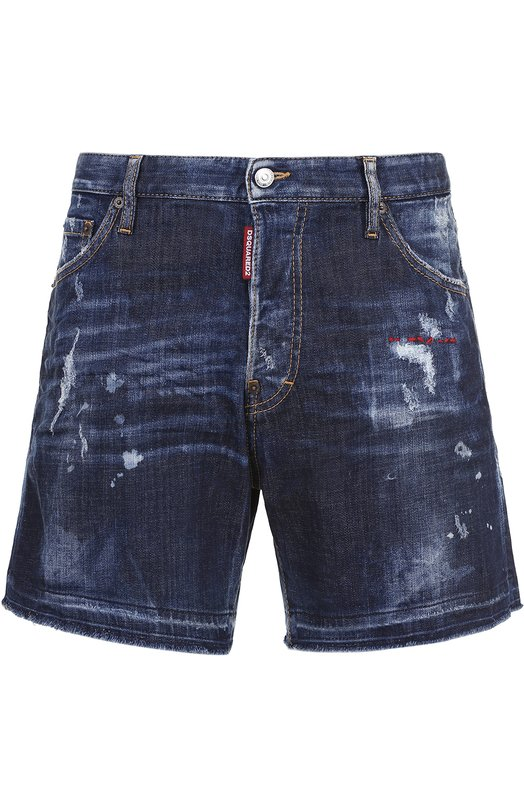 Джинсовые шорты с декоративными потертостями и необработанным краем Dsquared2 S74MU0437/S30342