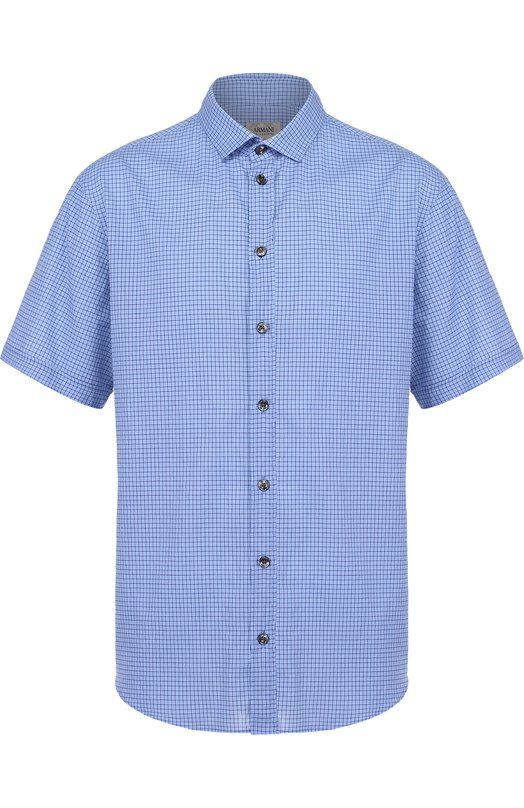 Хлопковая рубашка с короткими рукавами и воротником кент Armani Collezioni VCSMDM/VC2F4