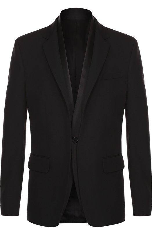 Шерстяной приталенный пиджак с шелковой отделкой Givenchy 17S/3252/029
