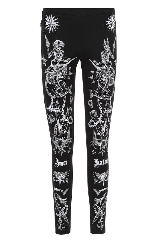 Хлопковые брюки-скинни с контрастным принтом Givenchy 17S/7323/651