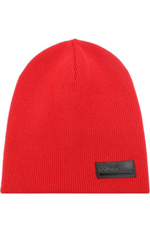 Шерстяная шапка бини с нашивкой Dsquared2 S17KH4005/01W