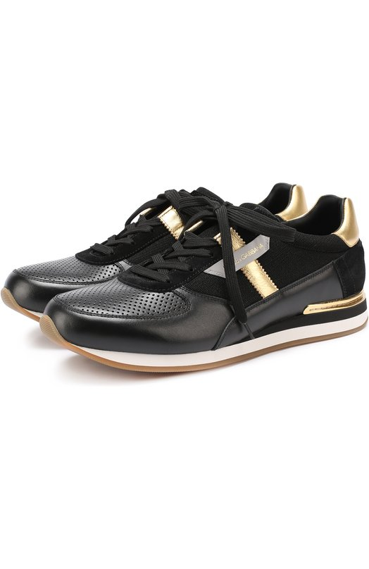 Кожаные кроссовки с контрастной отделкой и перфорацией Dolce & Gabbana 0111/CS1453/AE933
