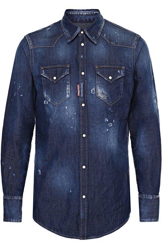 Джинсовая рубашка с декоративными потертостями Dsquared2 S74DM0005/S30341