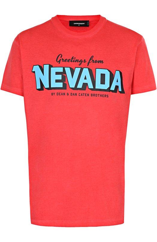 Хлопковая футболка с контрастным принтом Dsquared2 S74GD0212/S22427