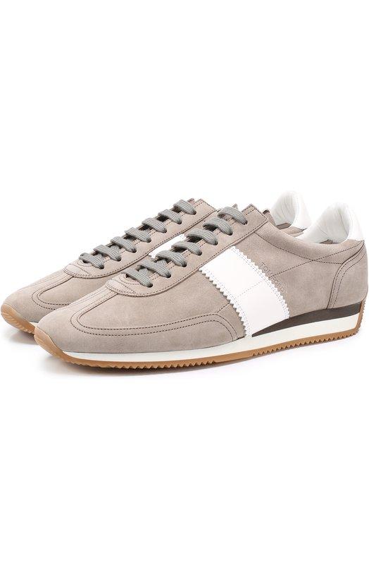 Замшевые кроссовки с контрастными кожаными вставками Tom Ford J0948T/RSK