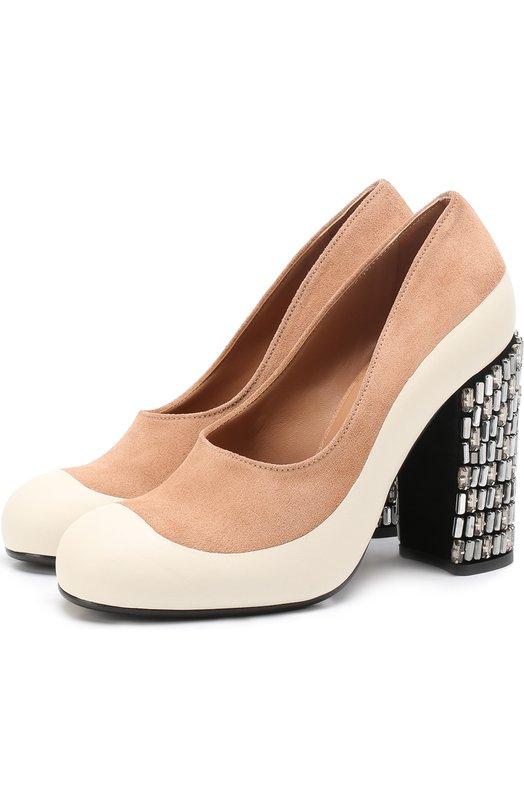 Комбинированные туфли на каблуке с кристаллами Marni PUMSW03C10LV303