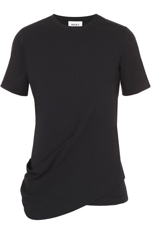 Хлопковая футболка с декоративной драпировкой DKNY P4661058BA