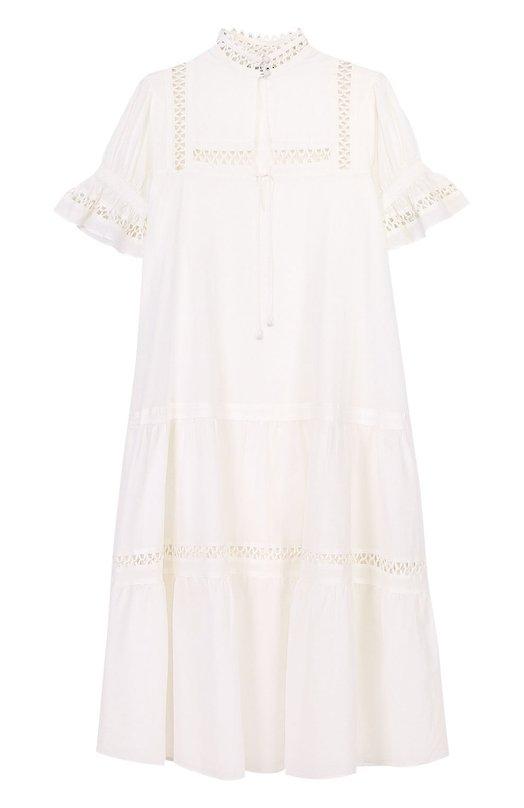 Платье свободного кроя с воротником-стойкой и рукавом-фонарик Apiece Apart AA17202/WHITE