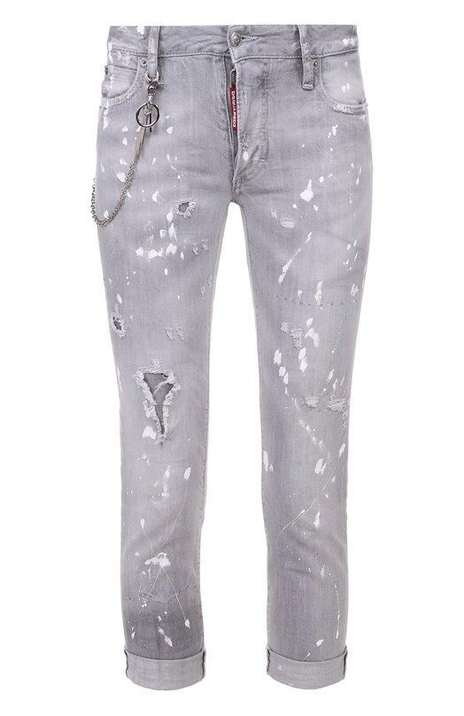 Укороченные джинсы-скинни с декоративной отделкой Dsquared2 S72LA0945/S30260