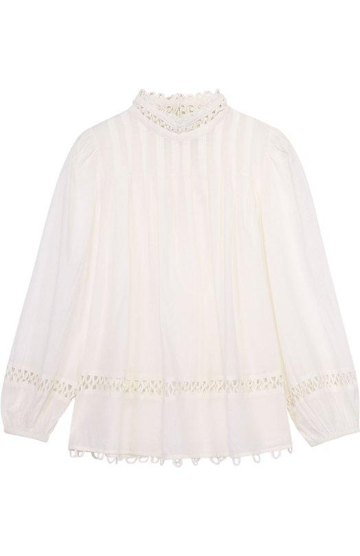 Блуза прямого кроя с воротником-стойкой и кружевной отделкой Apiece Apart AA17106/WHITE