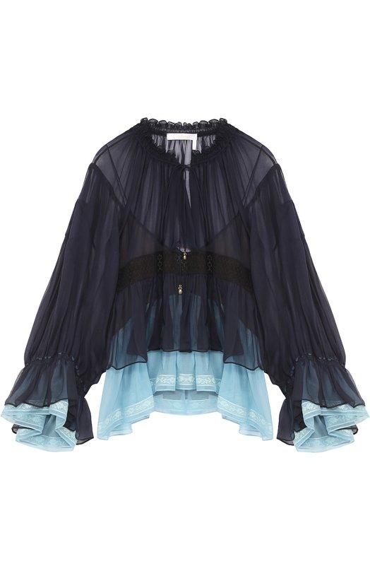 Купить Укороченная шелковая блуза с оборками Chloé, 17SHT12/17S001, Франция, Черный, Шелк: 100%; Полиэстер: 100%; Отделка-хлопок: 100%;