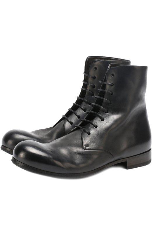 Высокие кожаные ботинки на шнуровке с круглым мысом Marsell MM2291/CUL.FI0RE LISCIA